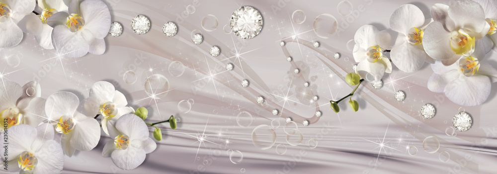 Fototapety, obrazy: 3d wallpaper, orchids, bubble and rhinestones on beige silk background