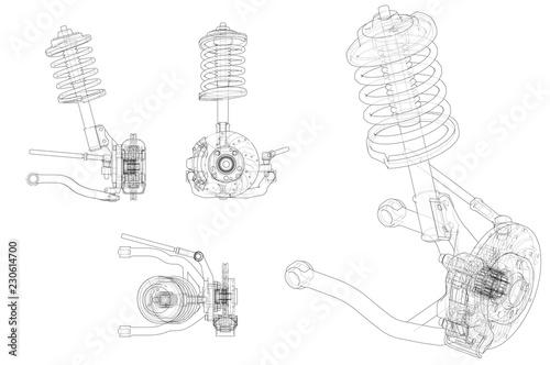 Fototapeta Car suspension with shock absorber