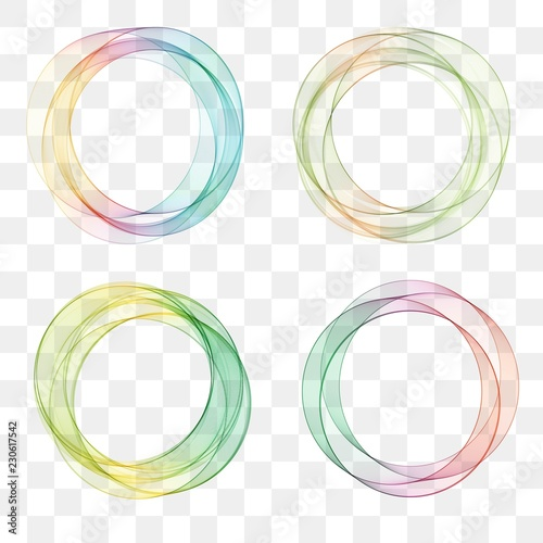 Obraz set collection of trendy multicolored overlapping transparent circle shaped logo design elements - fototapety do salonu