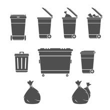 Garbage Bins Illustration Set ...