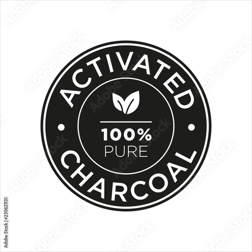 Activated Charcoal icon. 100% pure.