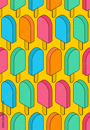 Photo Stands Draw Ice cream pattern seamless. Eskimo background. Food ornament. Sweetness texture