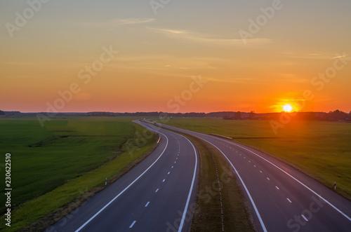 Fotografie, Obraz  Highway, sunset, top view
