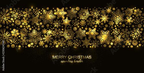 Fototapeta Gold seamless snowflake border isolated on black background, Christmas glitter design for postcard or greeting card. Vector illustration, merry xmas snow flake header or banner, wallpaper or backdrop obraz