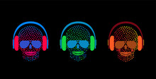 Skull Icons With Headphones, H...