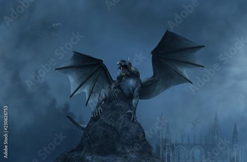 Fototapeta premium 3D Fantasy agresywny smok na skale