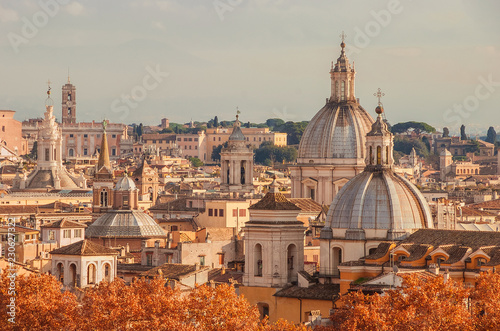Rome historic center skyline autumn view just before sunset Wallpaper Mural