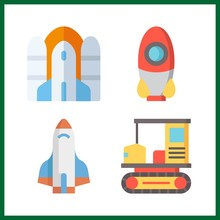 4 Off Icon. Vector Illustration Off Set. Rocket And All Terrain Icons For Off Works