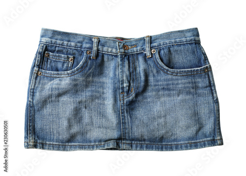 Fotografiet Jeans mini skirt (with clipping path) isolated on white background
