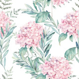 Watercolor seamless pattern. Vintage print with hortensia flowers and eucalyptus branches. Hand drawn illustration - 230630761