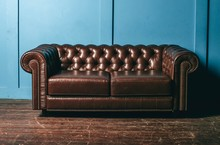 Luxurious Leather, Brown Sofa,...