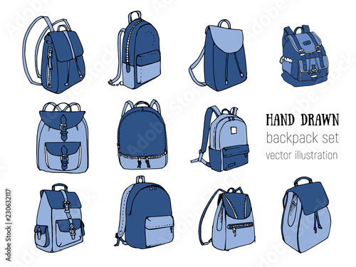 Photo Colored Hand drawn Vector Set of Doodle Backpacks