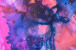 artistic blue, red and violet splashes of alcohol inks as abstract background
