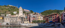Panoramic View Of The Historic Center Of Vernazza, Cinque Terre, Liguria, Italy