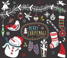 Chalkboard Christmas Elements Set