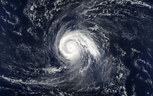 Tropical Hurricane Over The Ocean.Elements Of This Image Are Furnished By NASA..