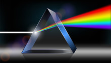 Optics Physics. The White Light Shines Through The Prism. Produce Rainbow Colors In 3D Illustrator.