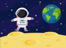 Cute Cartoon Space Astronauts Explore The Earth's Moon Surface.