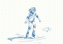 Teenage Girl With Long Hair Learning To Skate On Rollers, Blue Pen Sketch On Square Grid Notebook Page, Hand Drawn Vector Illustration