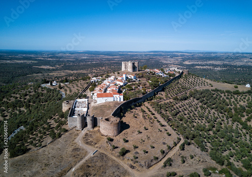 Aerial drone photo of the Evoramonte Castle, a medieval fortress just outside of Lisbon Portugal