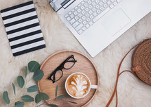 . Laptop, Coffee, Glassses And Other Accessories, Top View