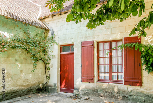 Foto op Canvas Tuin House facade at vintage rural farm at Chateau de Chenonceau, Chenonceau castle in Loire Valley area in France.