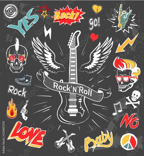 Fotografía Rock-n-Roll Forever Badges Vector Illustration
