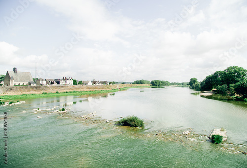 Poster Cote Loire river in France. View ot the summer day
