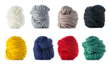 Collection Of Wool Knitting On White Background