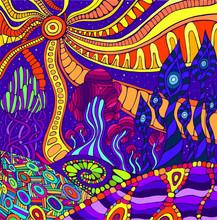 Colorful Doodle Surreal Landscape. Fantastic Psychedelic Graphic Artwork.