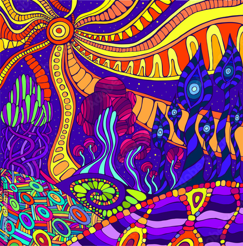 Fotografie, Obraz  Colorful doodle surreal landscape