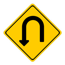 U-turn Yellow Sign On White Background Vector Eps 10