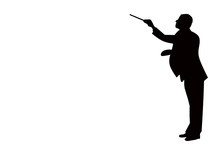 Black Silhouette Of A Classical Music Conductor Isolated On A White Background