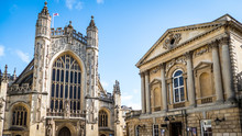 View Of Abbey And Baths In Bath England