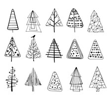 Set Of Doodle Christmas Trees.