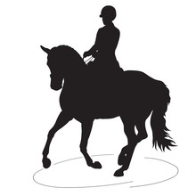 A Silhouette Of A Dressage Rider On A Horse Executing The Pirouette.