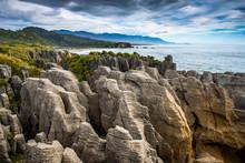 Morning At Pancake Rocks In Punakaiki, New Zealand