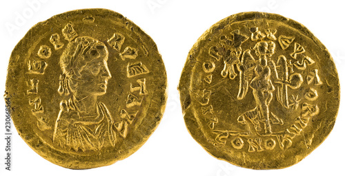 Leinwand Poster Ancient Roman gold tremissis coin of Emperor Leo I.