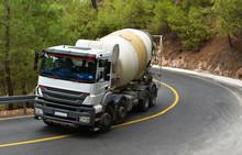 Truck Concrete Mixer In Mountains