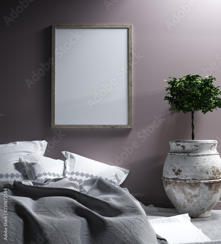 Foto auf AluDibond Boho-Stil Mock up poster in bedroom interior,ethnic style, 3d render