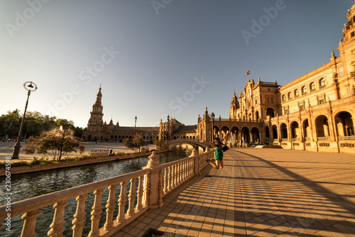 Fotografie, Obraz  Plaza de España in Seville (Sevilla) Spain at sunset