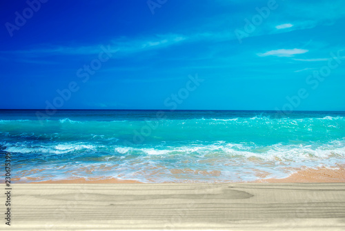 empty wooden table on the amazing sea background