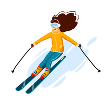 Vector Skiers Cartoon Flat Style. Woman In The Ski Resort. Winter Sport Activity. Simple Characters. Isolated On White Background