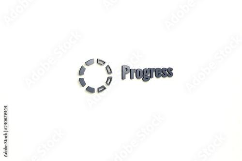 Fotografía  Illustration of Progress with grey text on light background