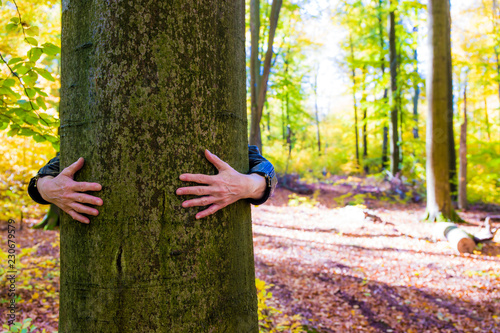 Fotografía  eine Frau umarmt in einem alten Buchenwald einen Baum