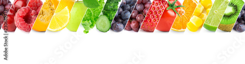 Poster Cuisine Mixed of color fruits and vegetables