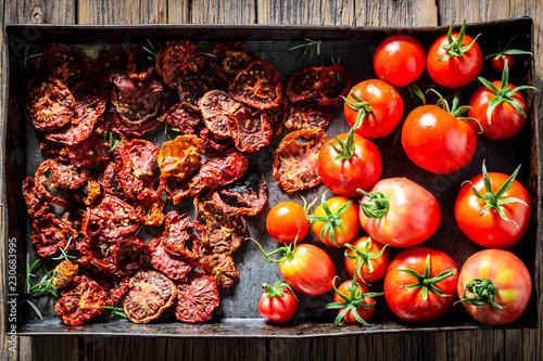 Delicious tomatoes dried in the sun full of vitamins