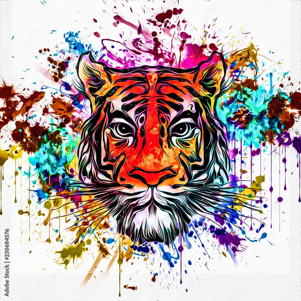 wild tiger face tattoo