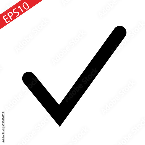 Fototapeta Black check mark icon. Tick symbol, tick icon vector illustration. obraz na płótnie