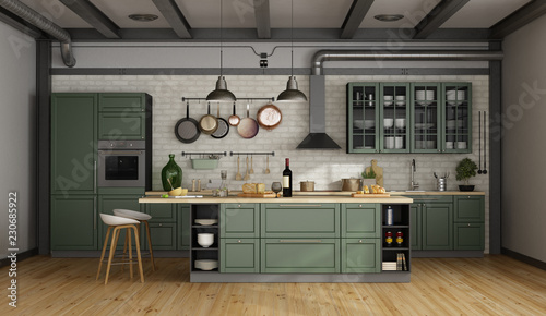 Retro green kitchen in a old room Tablou Canvas